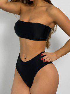 High Cut Bandeau Bathing Suit - Black M