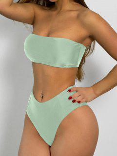 High Cut Bandeau Bathing Suit - Mint Green M