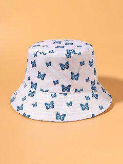 Cappello Da Pescatore A Forma Di Secchiello Con Stampa A Farfalle - Bianca