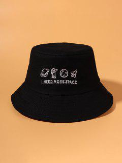 Planet Stickerei Bucket Hat - Schwarz