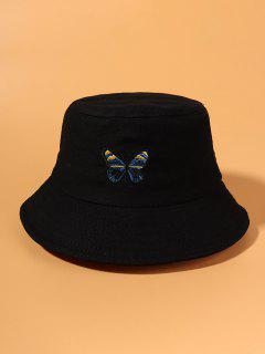 Butterfly Embroidered Bucket Hat - Black