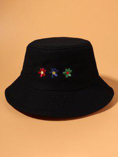 Chapeau Seau Fleur Colorée Brodée - Noir