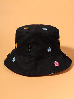 Flowers Embroidered Bucket Hat - Black