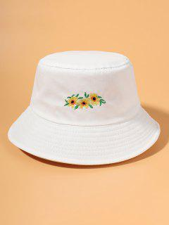Embroidered Sunflower Bucket Hat - White