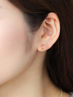Golden Star Zircon Plated Stud Earrings - Golden
