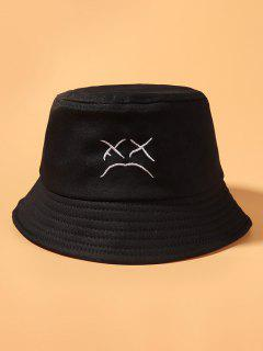 Cried Face Embroidered Bucket Hat - Black