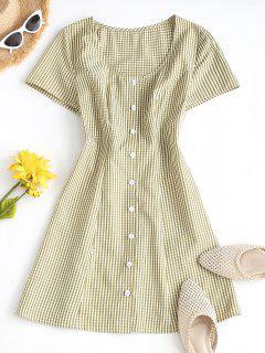 ZAFUL Gingham Button Up Mini Dress - Yellow S