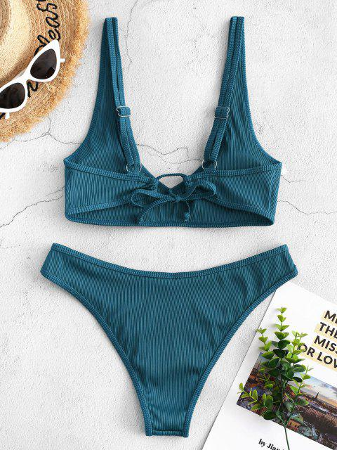 ladies ZAFUL Textured Ribbed Bikini Swimsuit - BLUE S Mobile