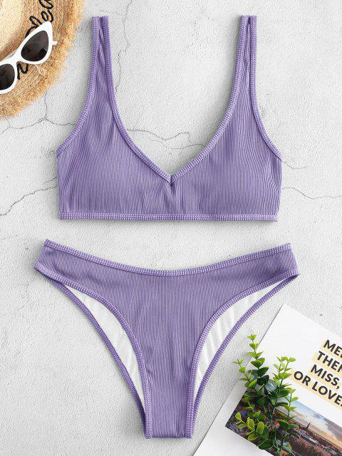 new ZAFUL Textured Ribbed Bikini Swimsuit - MAUVE S Mobile