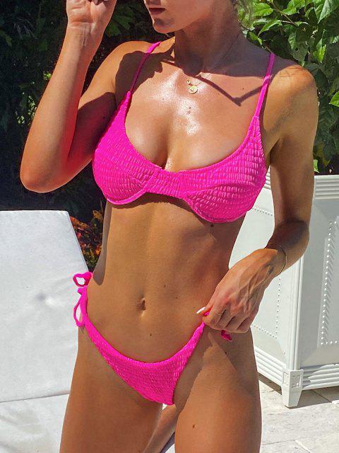 ZAFUL Maillot de Bain Bikini Néon Noué à Armature à Volants - Rose Vif L Mobile