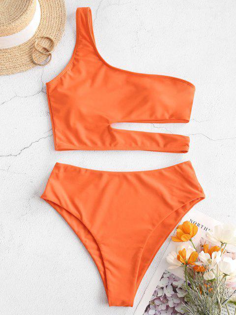 ladies ZAFUL Neon Skew Collar High Cut Cutout Tankini Swimsuit - ORANGE 2XL Mobile