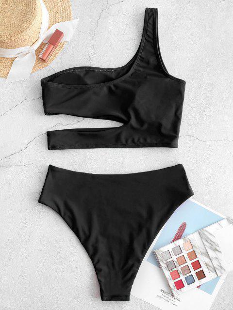 womens ZAFUL Neon Skew Collar High Cut Cutout Tankini Swimsuit - BLACK M Mobile