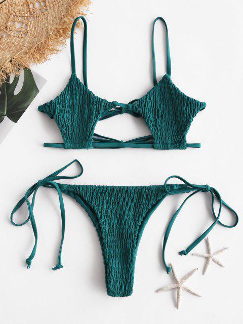 Bikini Stringato a Goccia con Buco Della Serratura di ZAFUL - Blu pavone M Mobile