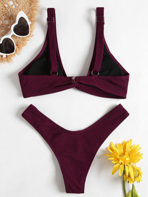 fashion Low Rise Textured Twist Bikini Set - RED WINE S Mobile