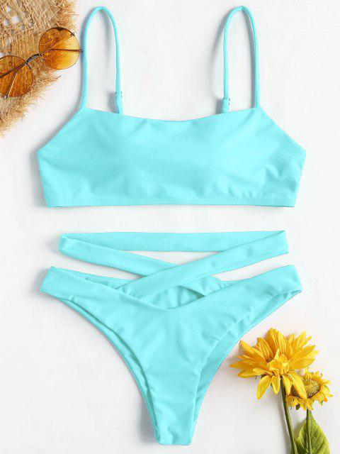 ZAFUL Bikini Croisé à Bretelles Spaghetti - Céleste L Mobile