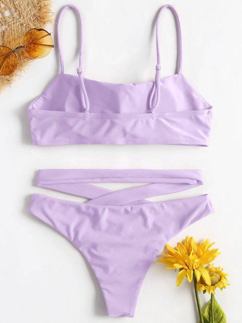 affordable ZAFUL Spaghetti Strap Criss Cross Bikini - MAUVE S Mobile