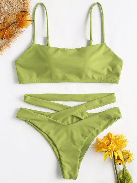 ZAFUL Bikini Croisé à Bretelles Spaghetti - Vert Noisette M Mobile