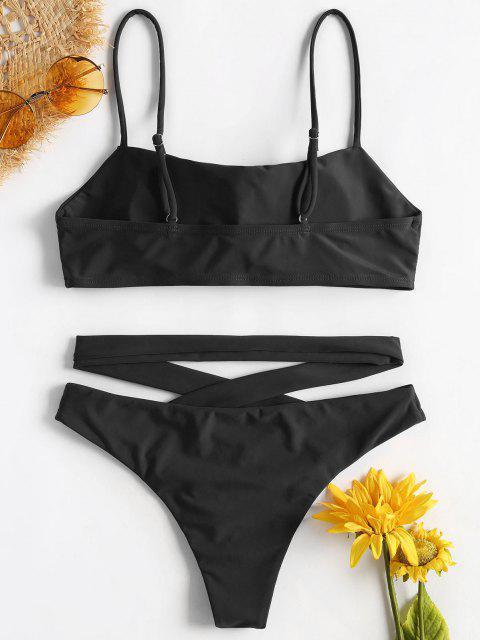 ZAFUL Bikini Croisé à Bretelles Spaghetti - Noir M Mobile
