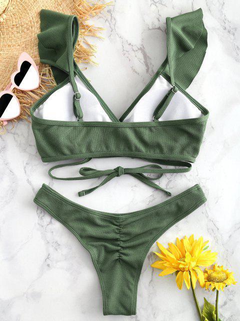 ZAFUL Ensemble de Bikini Côtelé Enveloppé - Vert Camouflage L Mobile