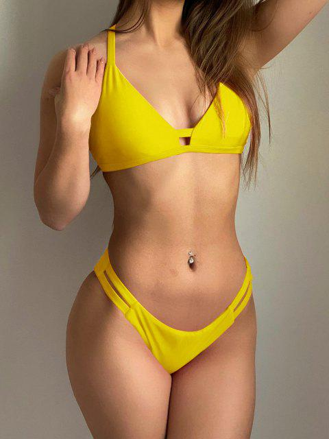 outfits Ladder Cut Cami Ruched Bikini - YELLOW 2XL Mobile