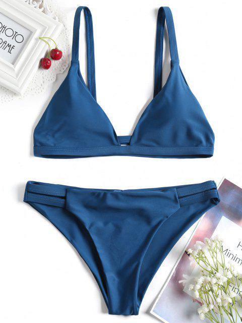 Bikini Fruncido de Tirantes Finos con Detalle Escotado de Escalera - Azul Eléctrico 2XL Mobile