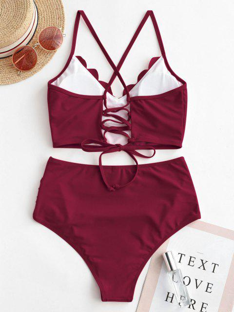 fashion ZAFUL Scalloped Lace-up Ruched Tankini Swimsuit - RED WINE M Mobile