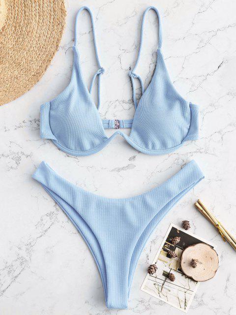 hot ZAFUL Textured Underwire Bikini - LIGHT BLUE M Mobile