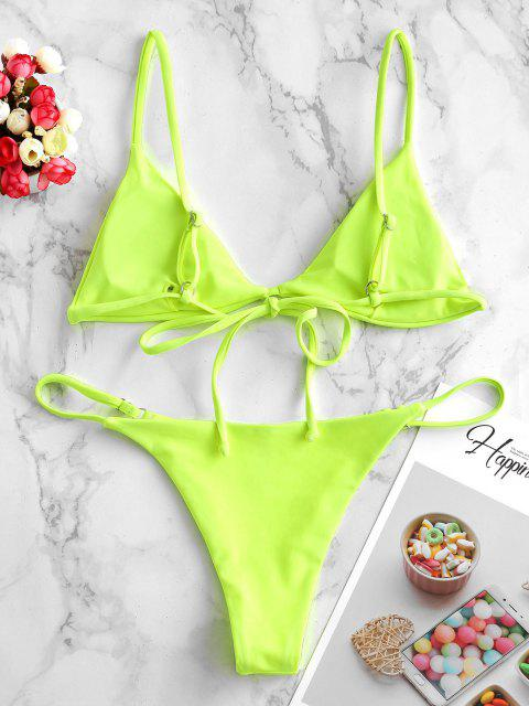 ZAFUL Maillot de Bain Bikini Fleuri Simple Matelassé à Lacets - Vert Jaune S Mobile