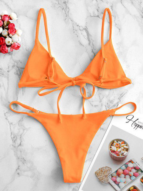 buy ZAFUL Padded Plain String Bikini Swimsuit - DARK ORANGE S Mobile