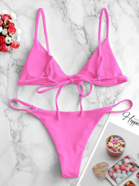 ladies ZAFUL Padded Plain String Bikini Swimsuit - HOT PINK M Mobile