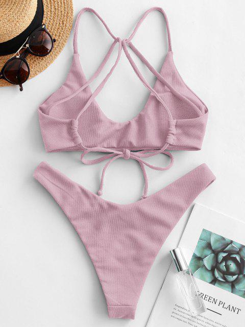 affordable ZAFUL Textured Strappy High Leg Bikini Swimsuit - LIGHT PURPLE M Mobile
