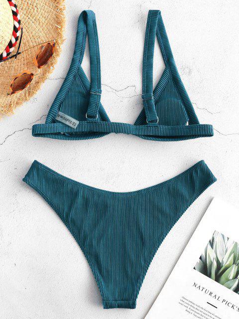 Bikini con Cierre Delantero Acanalado ZAFUL - Azul Eléctrico S Mobile