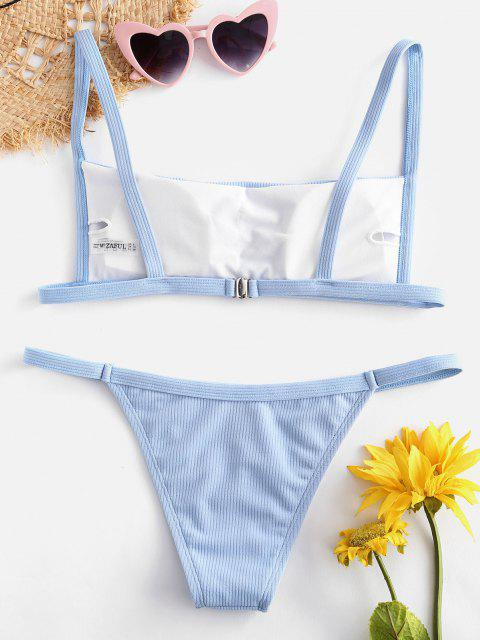 affordable Ribbed Hook String Bikini Set - LIGHT BLUE S Mobile