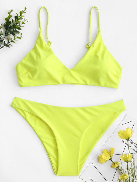 buy ZAFUL Solid Bralette Bikini Swimsuit - TEA GREEN L Mobile
