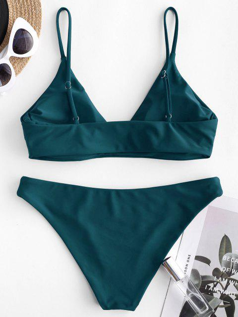 shop ZAFUL Solid Bralette Bikini Swimsuit - PEACOCK BLUE S Mobile