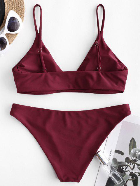 ZAFUL Maillot de Bain Bikini en Couleur Unie - Rouge Vineux M Mobile