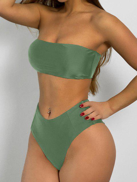 hot High Cut Bandeau Bathing Suit - ARMY GREEN M Mobile