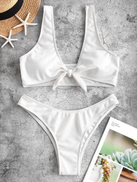 Bikini Set mit Rippbündchen - Weiß M Mobile