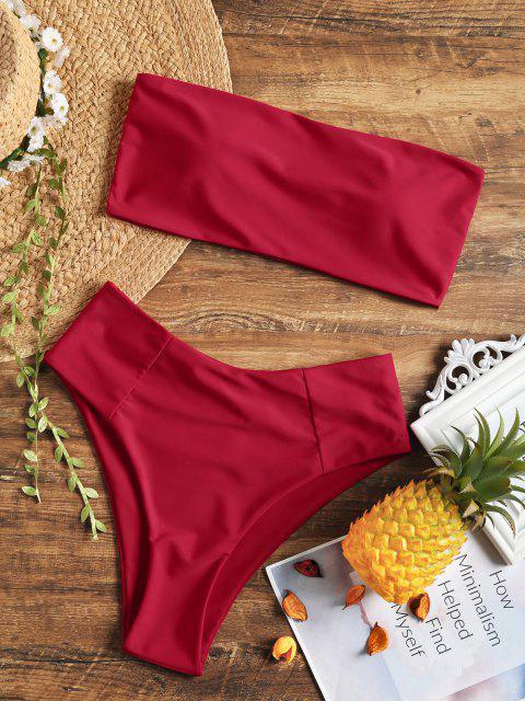 Maillot de Bain bandeau coupe haute - Rouge L Mobile