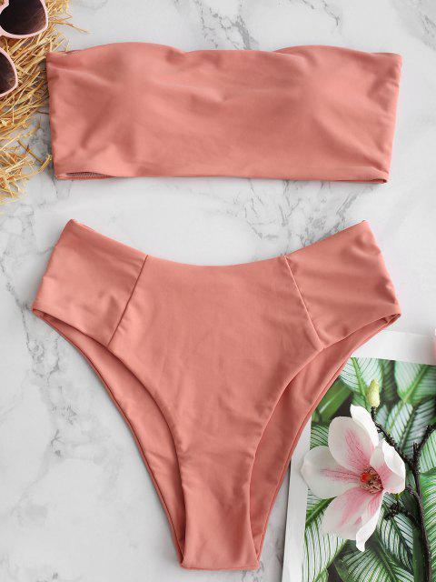 fashion High Cut Bandeau Bathing Suit - LIGHT SALMON M Mobile