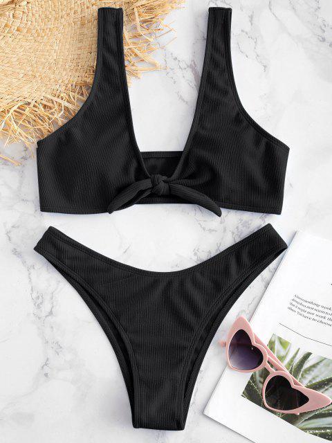 Bikini Set mit Rippbündchen - Schwarz S Mobile