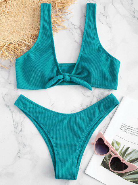 Bikini Set mit Rippbündchen - Helles Meergrün S Mobile
