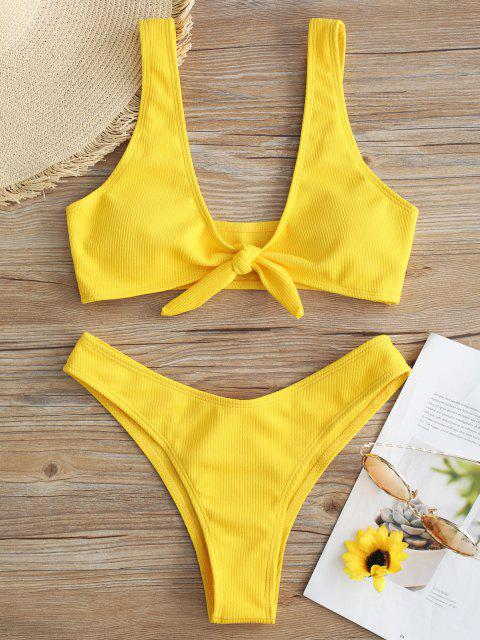 Bikini A Costine Con Nodo Frontale - Giallo M Mobile