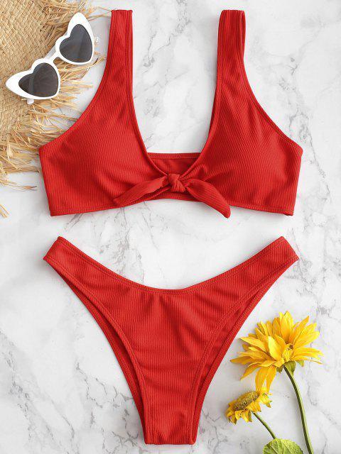 Bikini A Costine Con Nodo Frontale - Rosso S Mobile