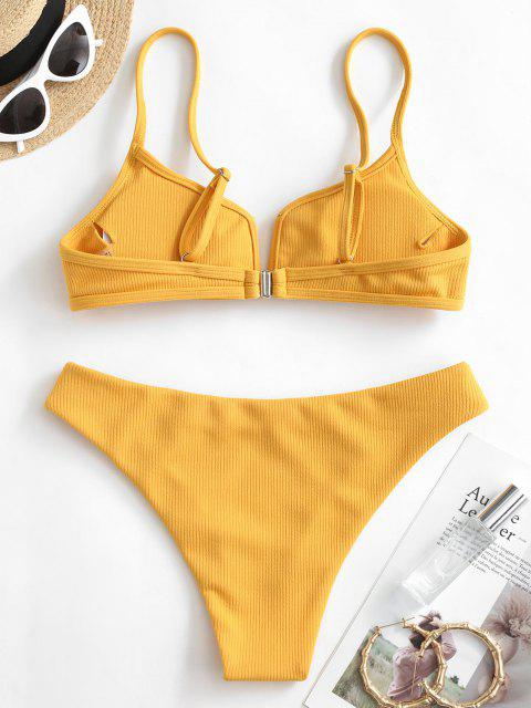 best ZAFUL Ribbed V Wired Cami Bikini Set - YELLOW S Mobile
