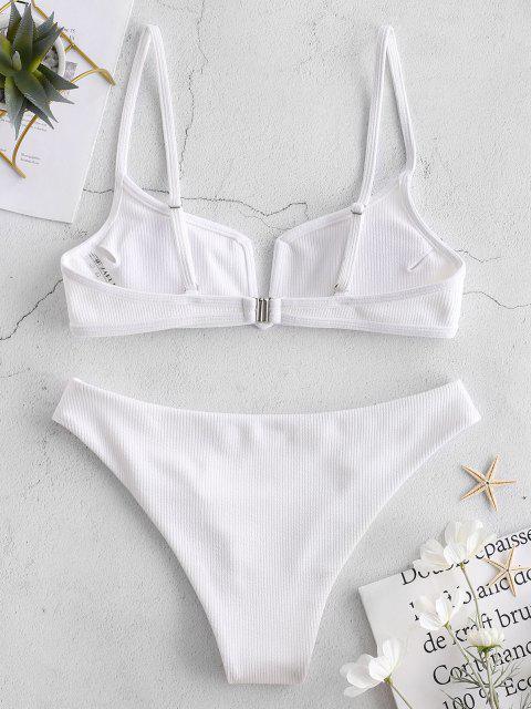best ZAFUL Ribbed V Wired Cami Bikini Set - WHITE M Mobile