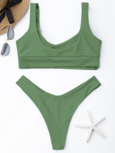 womens ZAFUL Scooped High Cut Bikini Set - PEA GREEN L Mobile