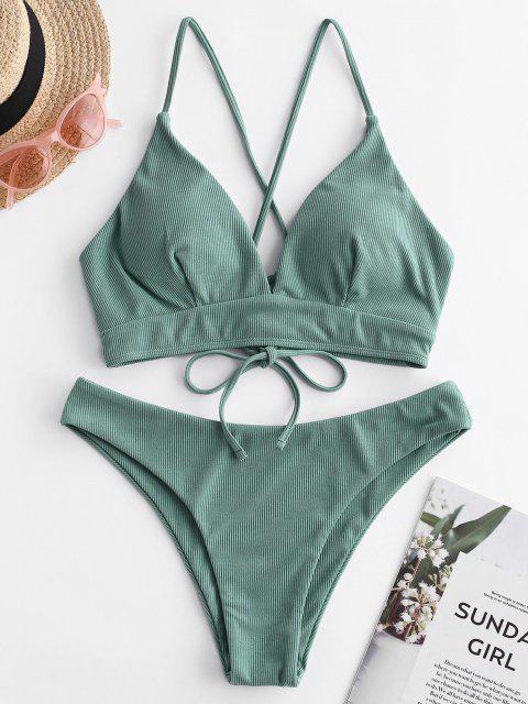 outfits ZAFUL Ribbed Lace Up Cami Bikini Swimwear - SEA TURTLE GREEN M Mobile