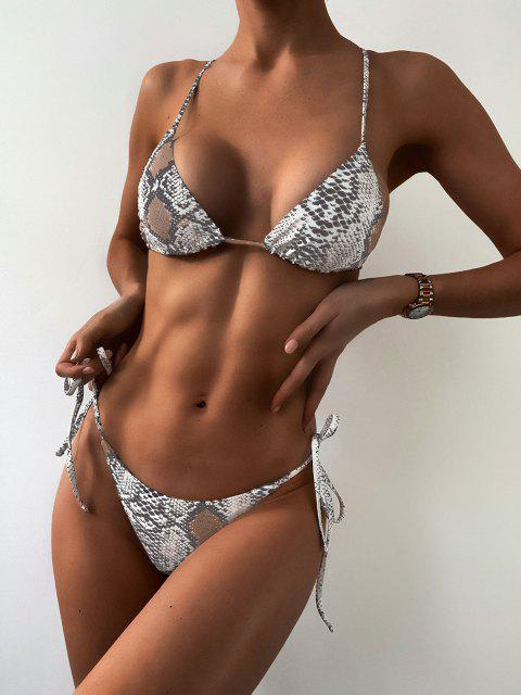 chic ZAFUL Snakeskin Bralette String Bikini Swimsuit - MULTI-A S Mobile