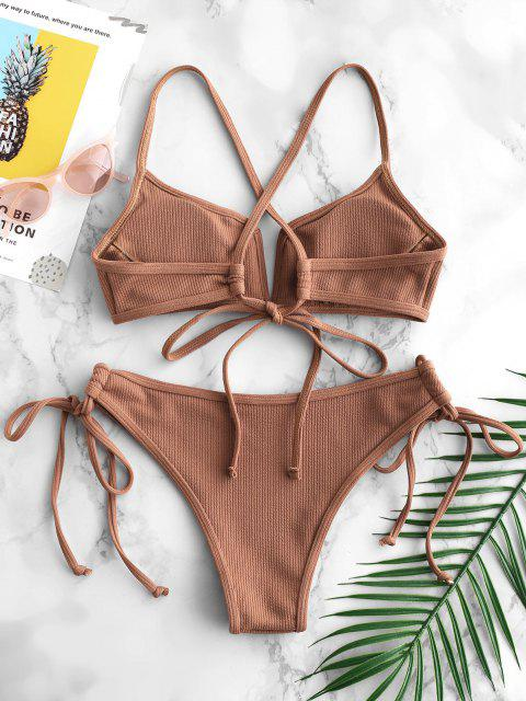 unique ZAFUL Ribbed V Wired Criss Cross Bikini Set - LIGHT BROWN S Mobile